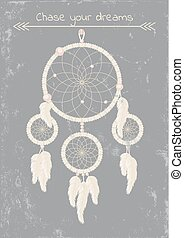 dream catcher - beautiful dream catcher on grunge gray...
