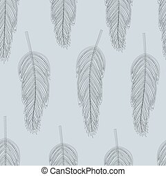 feather pattern - tender seamless vector pattern with...