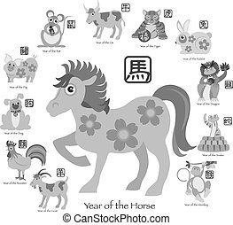 Chinese New Year Horse with Twelve Zodiacs Illustration