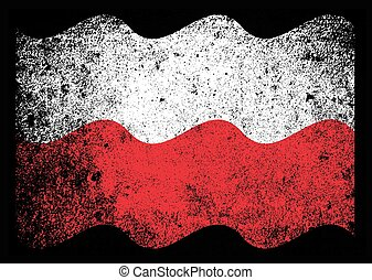 Polish Flag Grunge - The Polish flag with heavy grunge over...