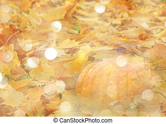 Stylized autumn background with leaves and pumpkins in golden tones