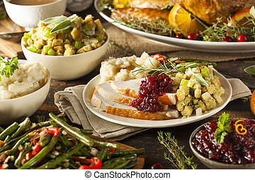 Homemade Thanksgiving Turkey on a Plate with Stuffing and...