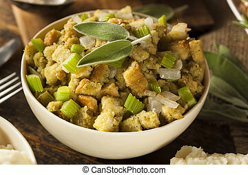 Homemade Stuffing for Thanksgiving with Celery and Sage