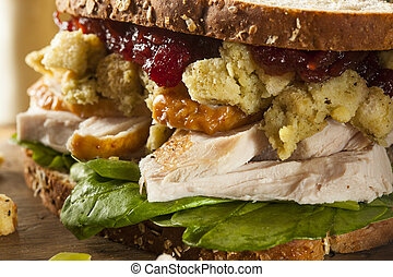 Homemade Leftover Thanksgiving Dinner Turkey Sandwich with...