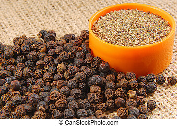 black pepper on hessian fabric