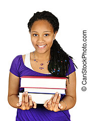 Girl holding text books - Isolated portrait of black teenage...