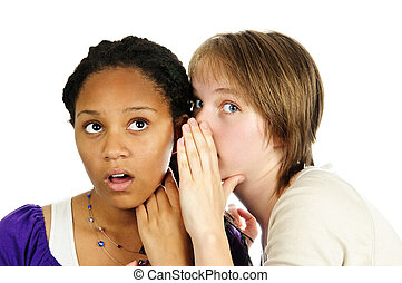 Two girlfriends gossiping - Isolated portrait of two diverse...