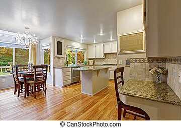 White kitchen room with dining table set - Bright kitchen...