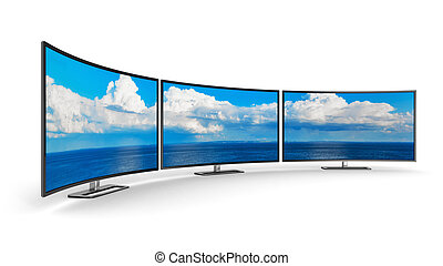 Panoramic curved displays - Creative abstract television...