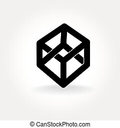 cube - Vector symbol of irrational twisted cube with faces...