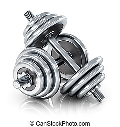 Dumbbells - Creative abstract sport, fitness and healthy...