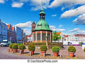 Market Square in the Old Town of Wismar, Germany - Scenic...