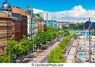 Helsinki, Finland - Scenic summer panorama of the Old Port...