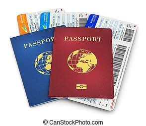 Biometric passports and air tickets - Creative abstract...