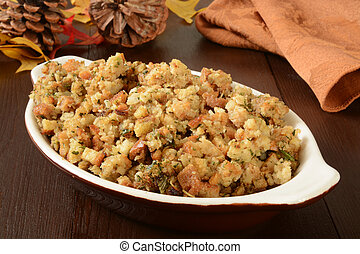 Holiday stuffing - A small casserole dish of herbal holiday...