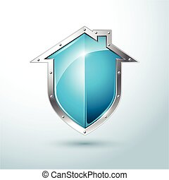 blue shield vector illustration - Home security silver and...