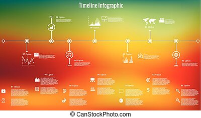 Time line infographics blurred back