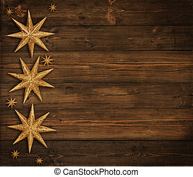 Christmas Wooden Background, Golden Stars Decoration , Brown...