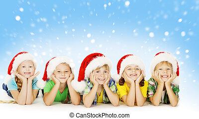 Christmas Children In Santa Helper Hat, Little Kids Boys and...