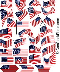 American Flag Collection Vector Art