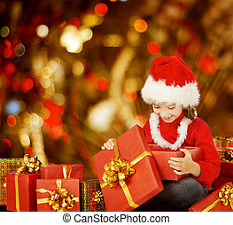 Christmas Kid Opening Present Gift Box, Happy Child in Santa...