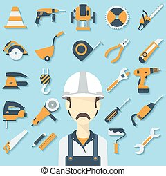 Construction concept with flat icons and builder. Vector...