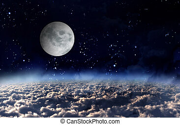 moon light in space - galaxy planet in the sky of space...