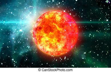 Solar Sun in green space - Solar Sun in the space night...