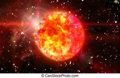 Solar Sun in red space - Solar Sun in the space night...