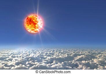 Solar Sun light day - Solar Sun in the sky of space...