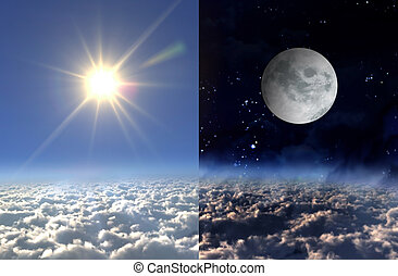 Sun light day and moon night - Sun and moon of day and night...