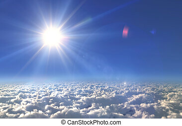 Sun white flare glow light day - Solar Sun in the sky of...