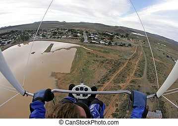 View motorized paraglider - Pilot\'s view from motorized...