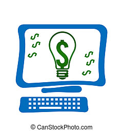 Screen With Dollar - Computer Screen with bulb and dollar...