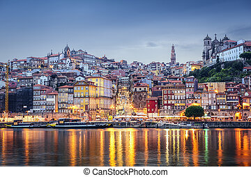 Porto, Portugal cityscape across the Douro River.