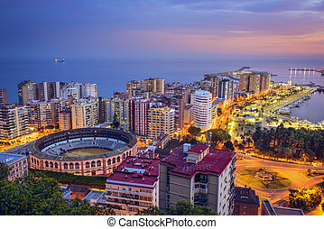 Malaga, Spain Cityscape at - Malaga, Spain cityscape at the...