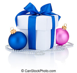 White box tied ribbon bow, blue and pink Christmas balls Isolate