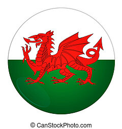 Wales button with flag - Abstract illustration: button with...