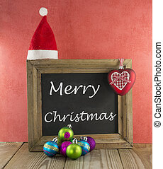 merry christmas with blackboard and red