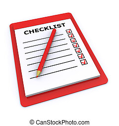 Checklist and pencil isolated on a white background 3d...