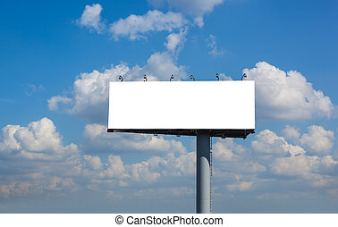 Blank billboard on blue sky with clouds for your...