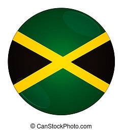 Jamaica button with flag - Abstract illustration: button...