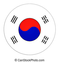 South Korea button with flag - Abstract illustration: button...