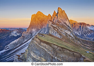 Dolomites. - View from Mt. Seceda at Italian Alps during...