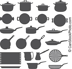 cookware silhouette set - vector dark grey cookware...