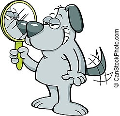 Cartoon dog holding a mirror. - Cartoon illustration of a...