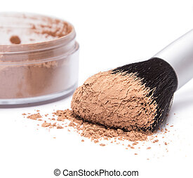 Makeup brush with loose cosmetic powder - Makeup brush...