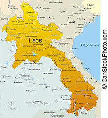 Laos country - Vector map of Laos country