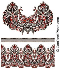 Neckline ornate floral paisley embroidery fashion design,...