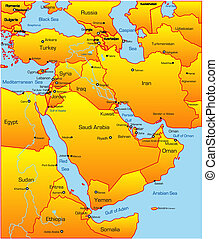 Middle East country - Abstract vector color map of Middle...
